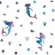 Mermaid Wall Decal Fairytale Ocean World Decorations Girls Nursery Decal Bathroom Wall Sticker Bathtub Decoration Home Decor,Sea Blue