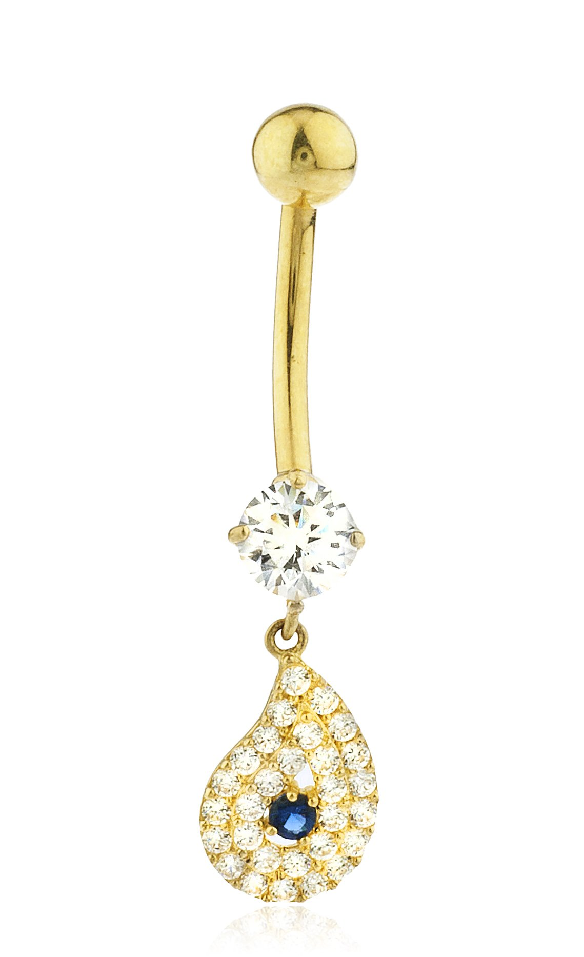 JOTW 10k Yellow Gold Belly Button Ring Iced Out Dangling Tear Drop Cz Stones (GO-1478) by JOTW