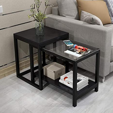 Amazon.com: L-Life - Mesa auxiliar, 2 mesas, de cristal ...