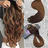 Moresoo 14inch Clip in Full Head Human Hair Extensions Double Weft Clip in Extensions Human Hair Two Tone #4 Brown Fading to #30 Clip on Hair Extensions Double Weft Hair 7PCS 120G