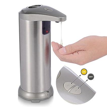 GEZICHTA Dispensador de Jabón automático de Acero Inoxidable con Sensor de Movimiento, Manos Libres,