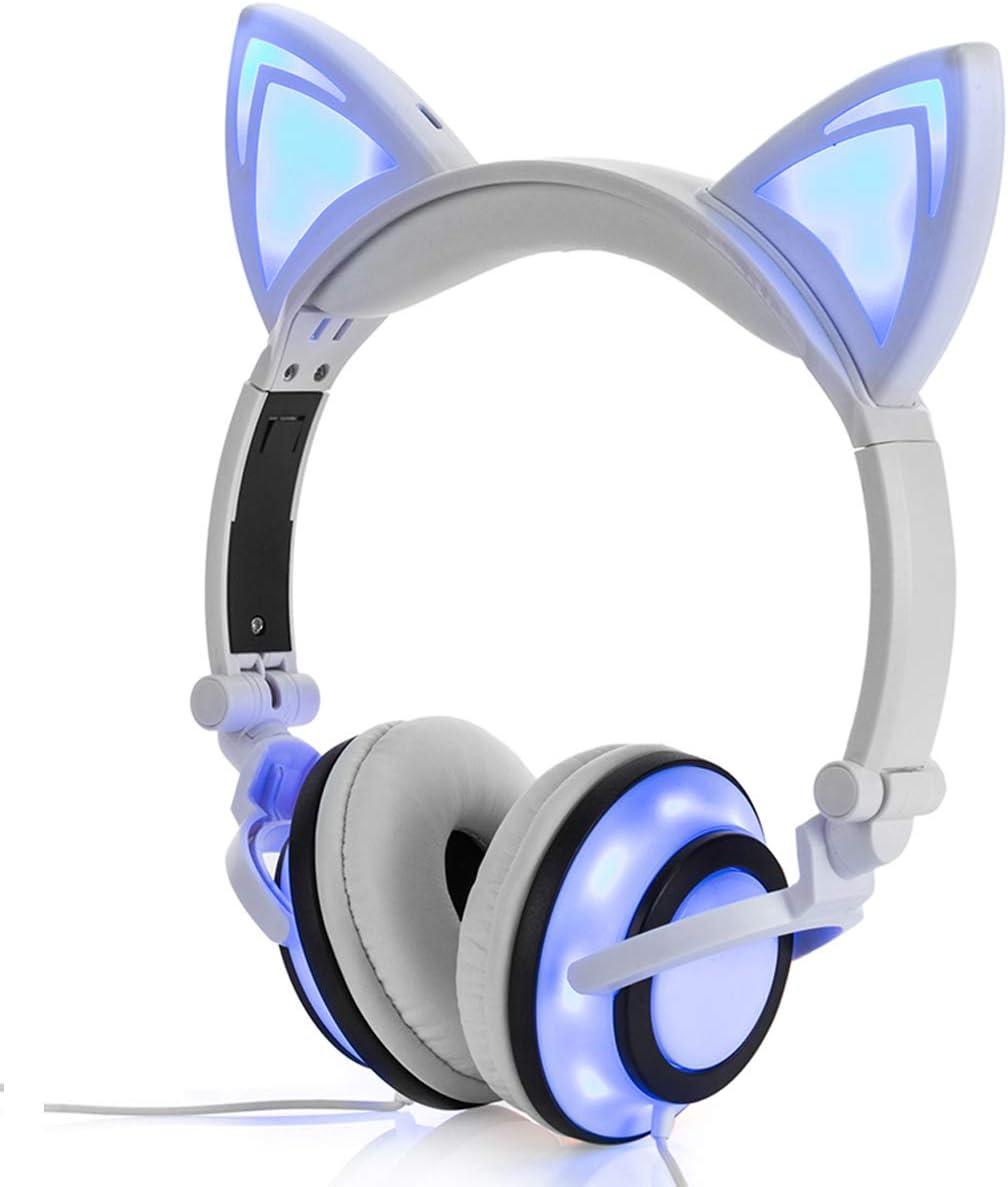 LIMSON Auriculares Sobre la Oreja con Oreja de gato, Headphones Plegables Recargables LED luz Brillante Headset para Niños, Adultos, Niñas R107 (Blanco)