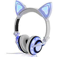 Headphone Cat Ear Headset,LED Light USB Chargeable Foldable Earphones Kids Teens Adults, Compatible Ipad,Tablet,Computer,Mobile Phone LX-R107 (White)