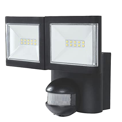 the best attitude eac62 1798e LAP Twin LED Floodlight with PIR Black 2 x 10W Cool White ...