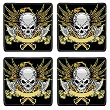 Liili Natural Rubber Square Coasters Image ID 26074116 skull and axes with eagle on backgroun