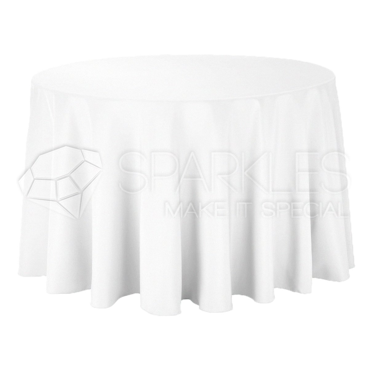 Sparkles Make It Special 10-pcs 120'' Inch Round Polyester Cloth Fabric Linen Tablecloth - Wedding Reception Restaurant Banquet Party - Machine Washable - White by Sparkles Make It Special