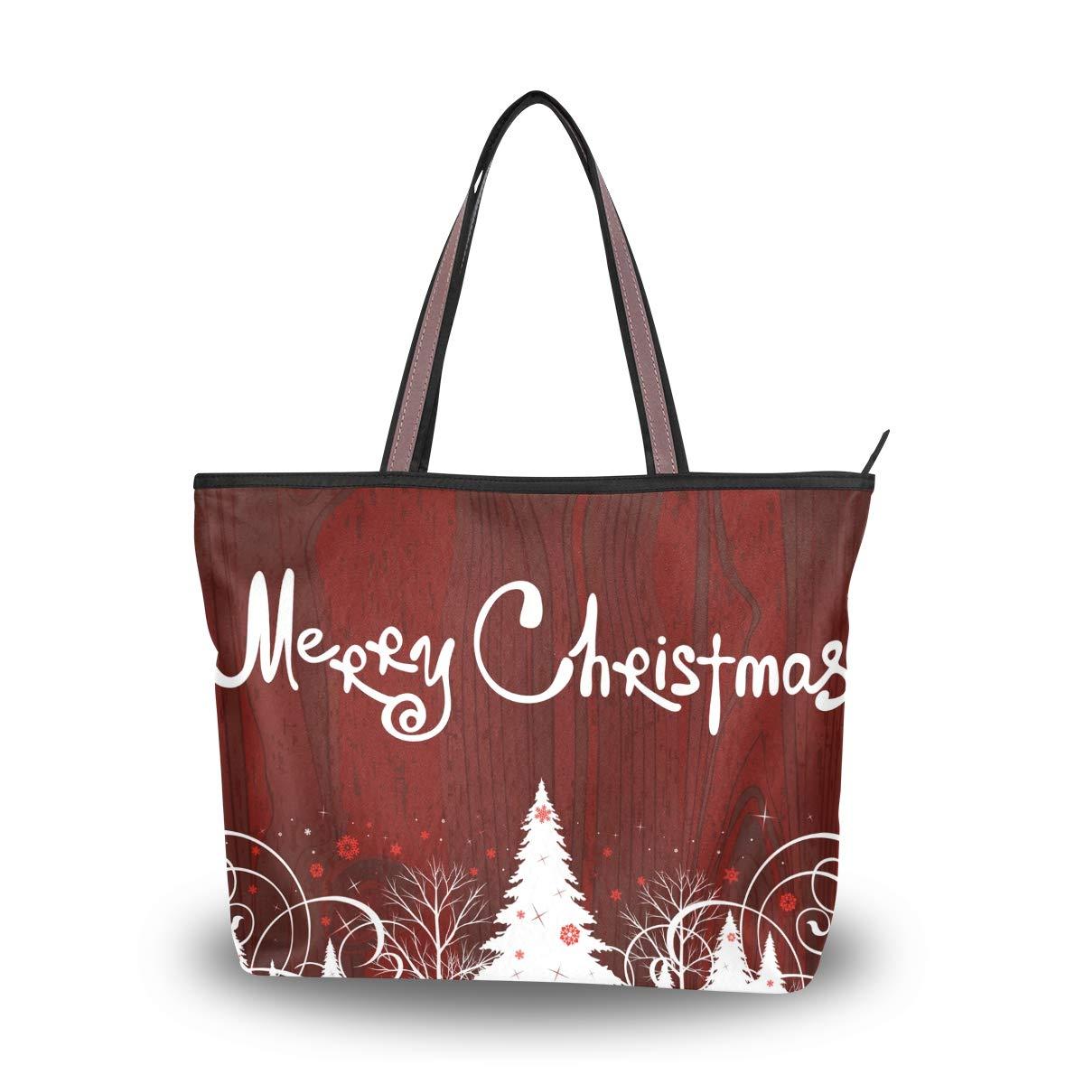 Zip Tote Bag Merry Christmas Tree Womens Handbags Shoulder Bags Satchel Purse