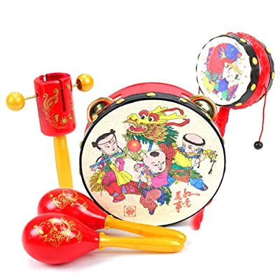 Blacgic Musical Instruments Children Toys Instruments Toddler Rattle Sand Hammer Sound Toys Wooden Rattle Set for Children and Baby: Home & Kitchen