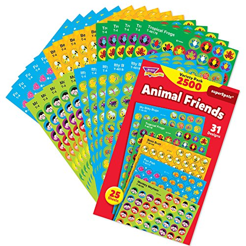 Mini Reward Stickers - TREND enterprises, Inc. Animal Friends superSpots Stickers Variety Pack, 2500 ct