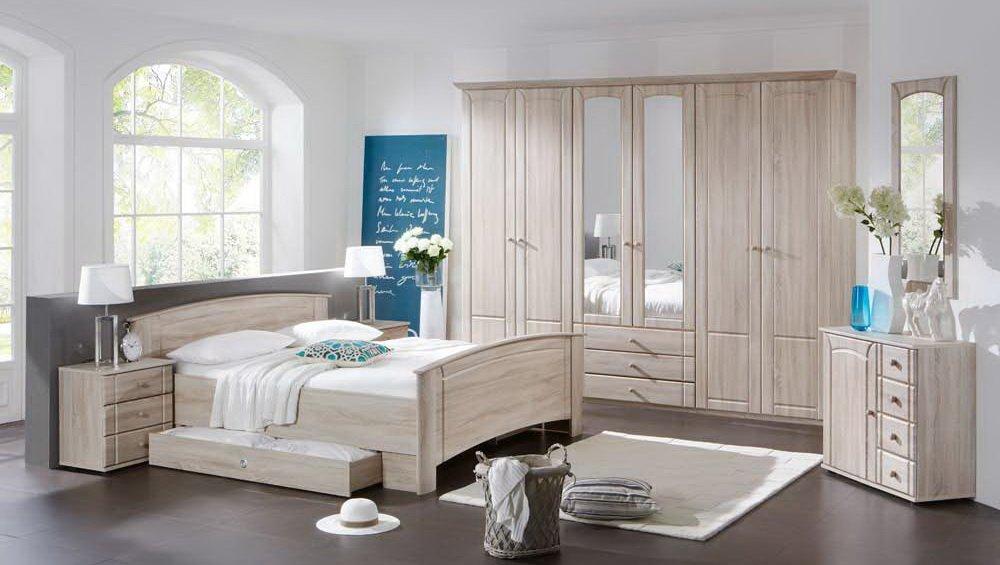Schlafzimmer 4-tlg. in Eiche sägerau-Nachbildung, 6-trg. Kleiderschrank B: 270 cm, Kompaktbett 180 x 200 cm, 2x Nachtschrank B: 52 cm
