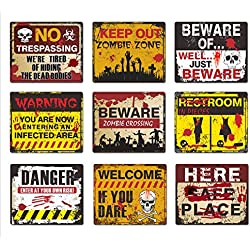 Halloween Decorations 9 Pack Beware Signs Halloween Signs Haunted House and Horror Themed Parties for Home Decor Beware Door Signs Indoor and Outdoor