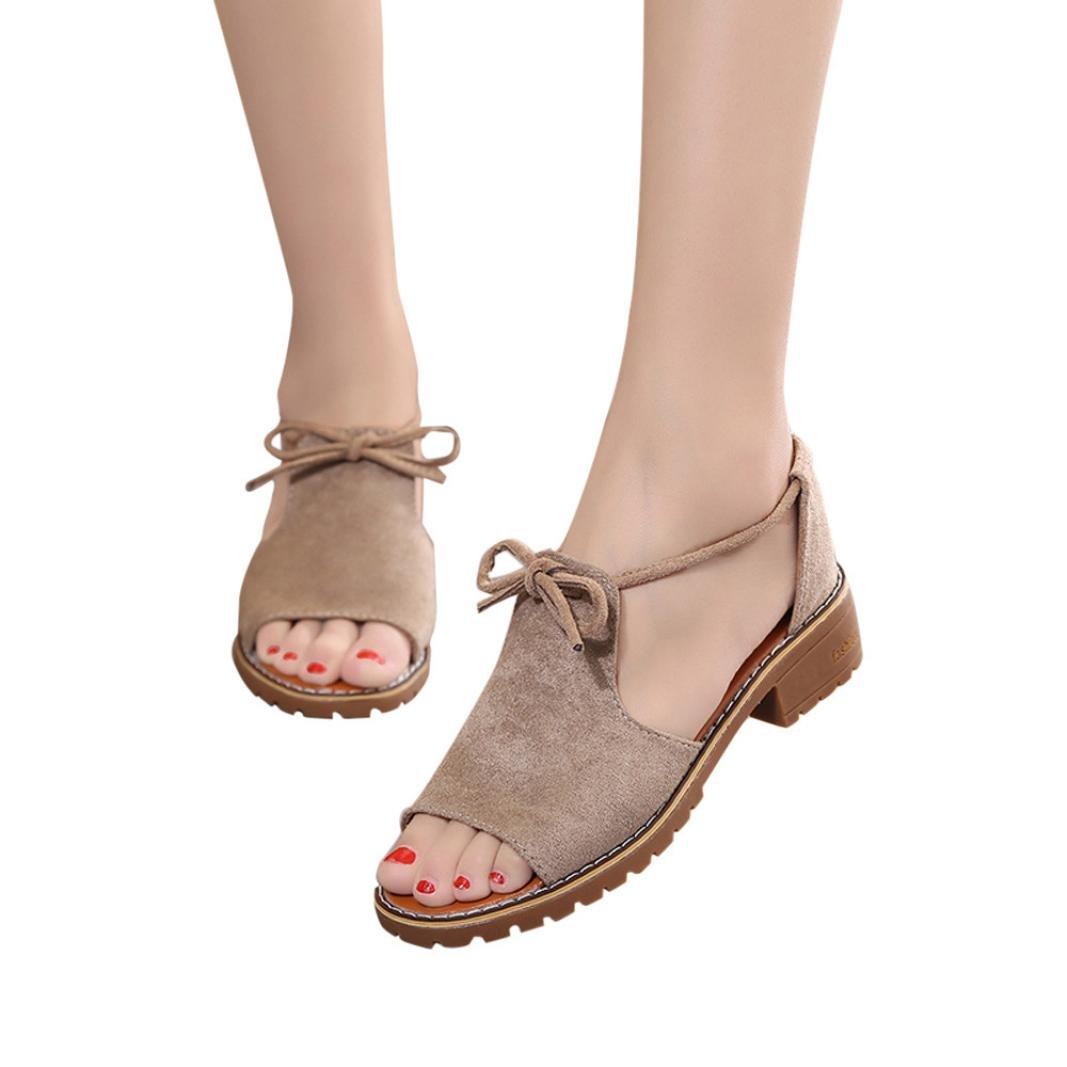 AIMTOPPY HOT Sale, Ladies Band Fish Head Open Toe Thick Heel Sandals Shoes Rome Sandals Shoes (US:7.5, Khaki)