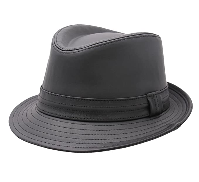 Classic Italy - Trilby Hat leather men Classic Trilby leather - Size 59 cm 1273fa04fa6