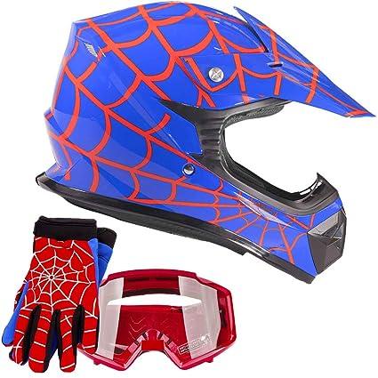 f42ef2afa Amazon.com  Youth Kids Offroad Gear Combo Helmet Gloves Goggles DOT ...