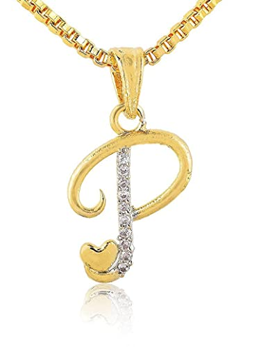 Buy SKN Silver and Golden American Diamond Name Word P Pendant with