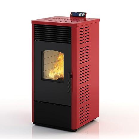 Eldstad horno de pellets estufa de pellets chimenea 10,9 kW rojo