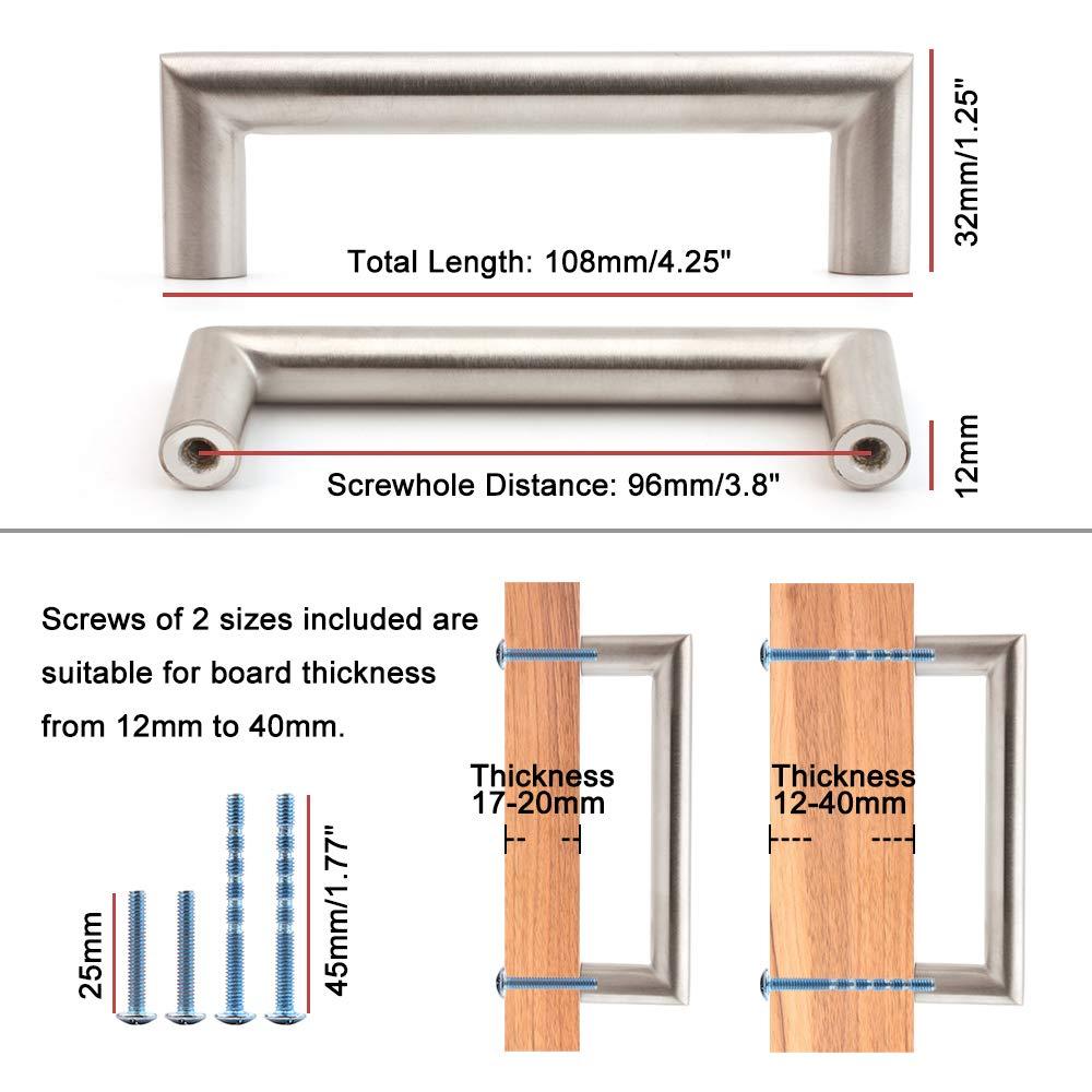 Koofizo/® Round Bar D Cabinet Handle 10-Pack for Kitchen Cupboard Door Bathroom Wardrobe Hardware 3.8 Inch//96mm Screw Spacing Stainless Steel Furniture Pull Bedroom Dresser Drawer