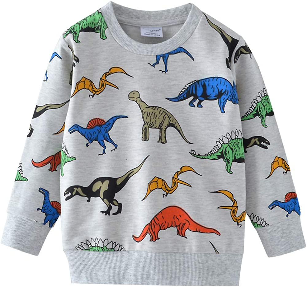 Popshion Boys Dinosaur Sweatshirts Toddler Boy Long Sleeve Cartoon Sport Pullover Tops for Kids 1-7T