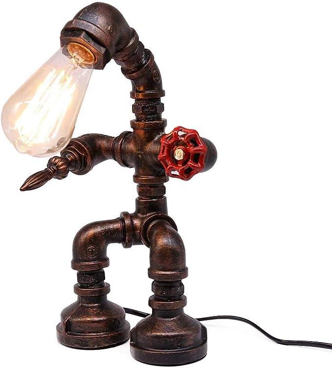 CanKun Lampara Industrial,Lámpara De Mesa Vintage,Retro Robot De Tubos De Agua De Hierro Steampunk Luz De Escritorio para Mesita De Noche: Amazon.es: Hogar