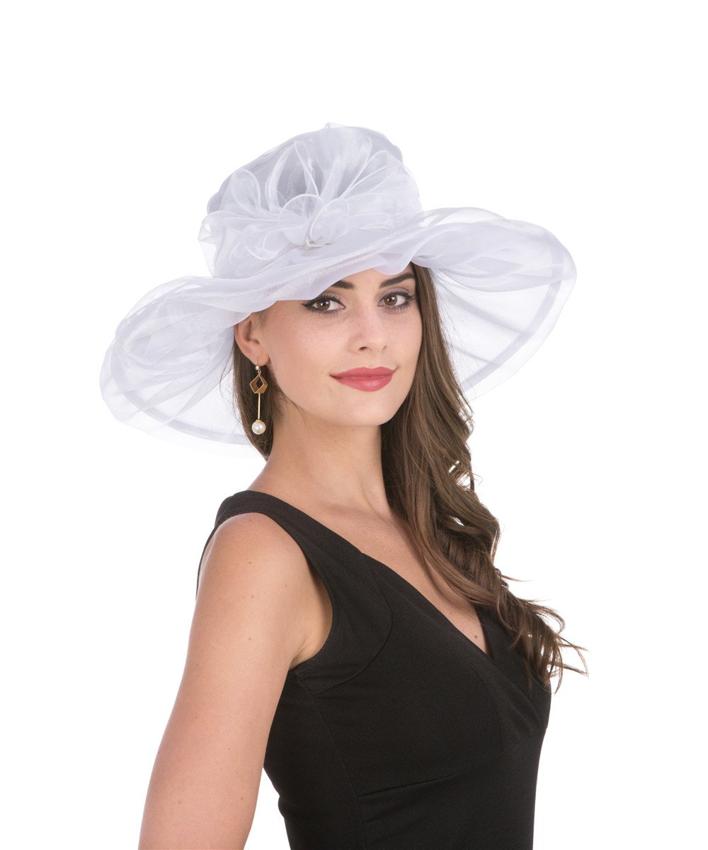 Saferin Womens Occasion Formal Kentucky Derby Wide Brim Hat Church Race Party Wedding White with Bowknot Free size