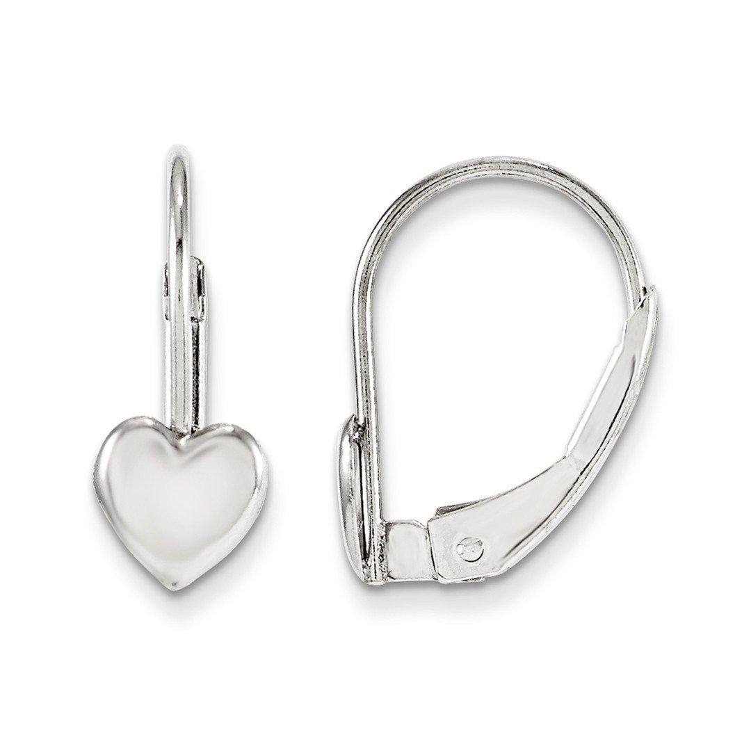 ICE CARATS 14k White Gold Leverback Heart Earrings Lever Back Drop Dangle Love Fine Jewelry Gift Set For Women Heart