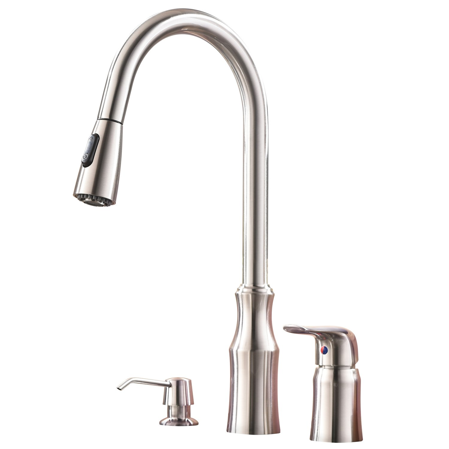 Hotis Modern High Arc Pull Out Stainless Steel Single Handle Pull Down Kitchen Sink Faucet,Brushed Nickel Kitchen Faucet with Soap Dispenser