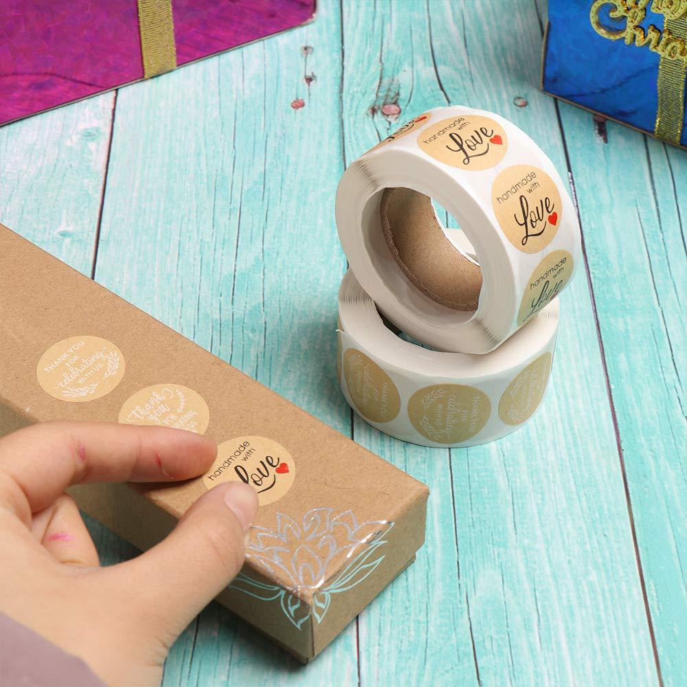 500 Etichette per Bobina Tipo 1 zhiyi-online 1 Pollici Rotonda Kraft a Mano con Amore Sticker Glitter ringrazia Adesivi