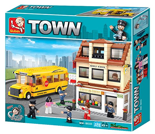 (Sluban Middle School with Bus Town Building Kit (496 Pieces))