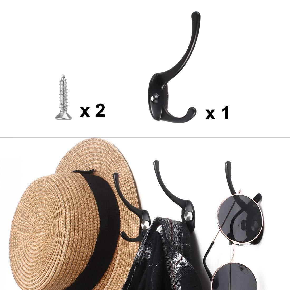 Black uxcell/® 6pcs Dual Robe Hook Stainless Steel Wall Mounted Hooks Coat Towel Wall Clasp Bathroom Hanger w Screws