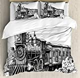 Steam Engine Duvet Cover Set by Ambesonne, Rustic Old Train in Country Locomotive Wooden Wagons Rail Road with Smoke, 3 Piece Bedding Set with Pillow Shams, Queen / Full, Black and White