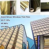 HOHO Reflective Gold Silver Privacy Window Film Glass Solar Tint for Residential Buildings,60''x98ft Roll
