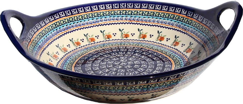 Polish Pottery Large Deep Bowl with Handles From Zaklady Ceramiczne Boleslawiec 1348-du71 Unikat Pattern, Diameter: 15''