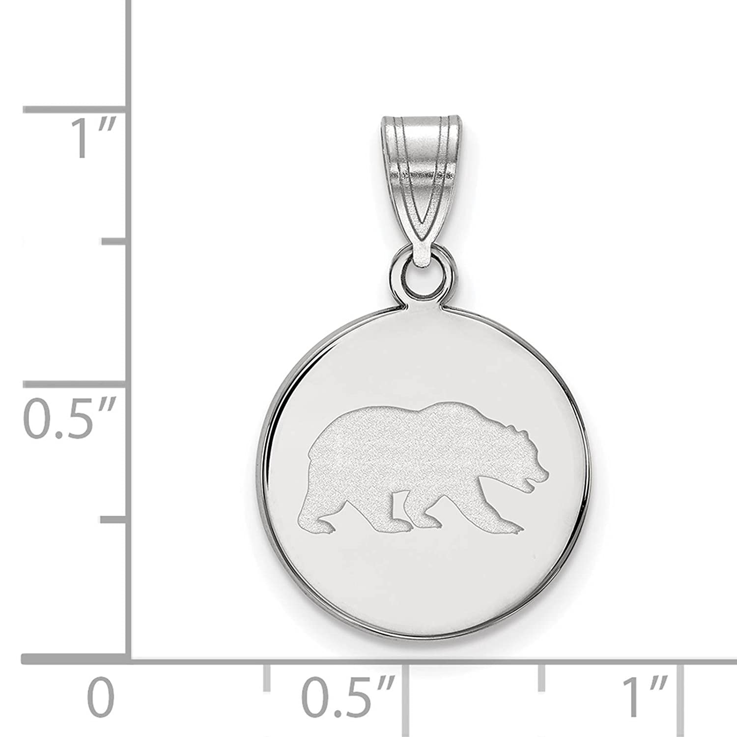 925 Sterling Silver Rhodium-plated Laser-cut University of California Berkeley Medium Disc Pendant