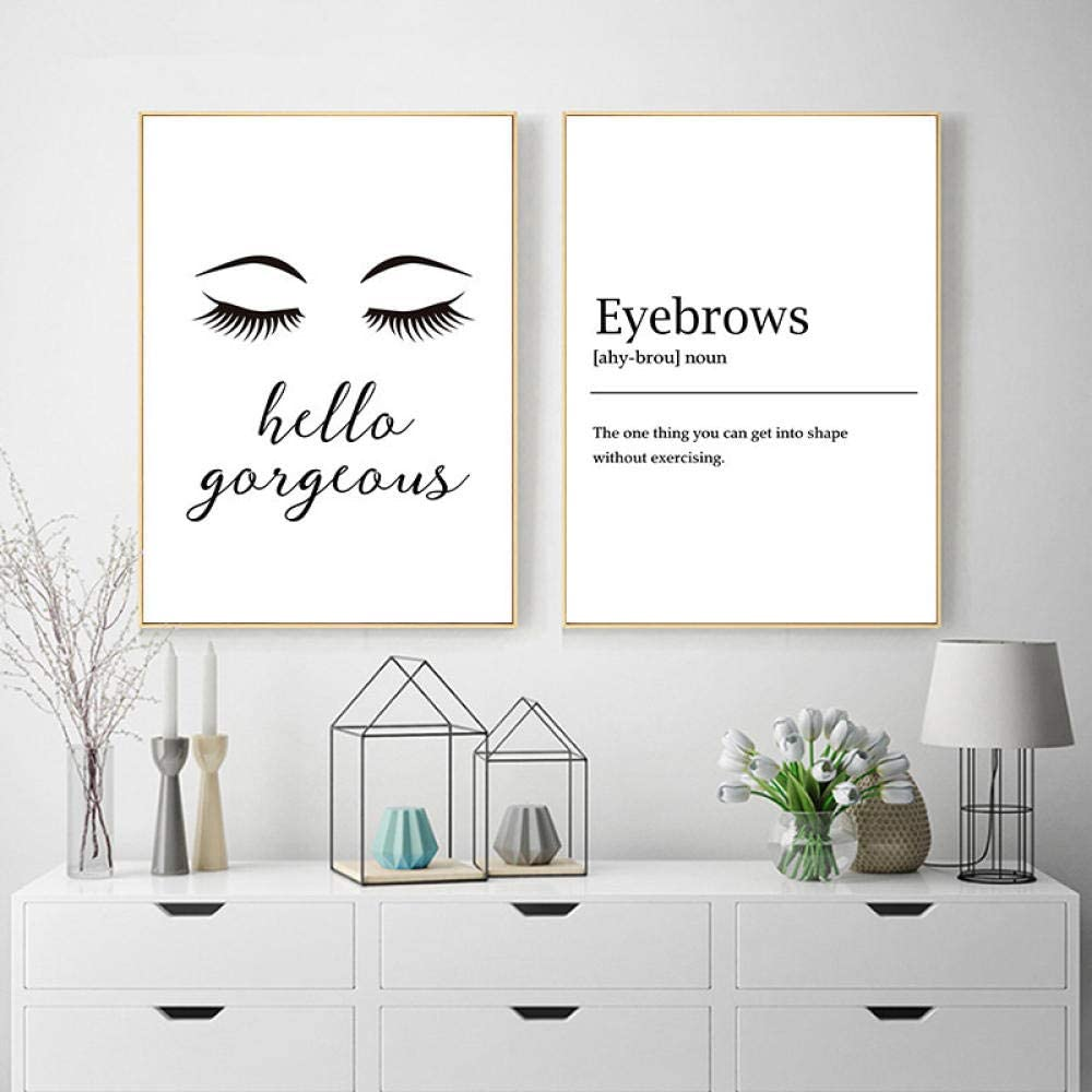 DFSDG Modern Black White Wall Posters Eyebrows Makeup Canvas Painting Print Makeup Decorative Pictures Beauty Salons Art Poster-40x55cmx2 Pcs No Frame