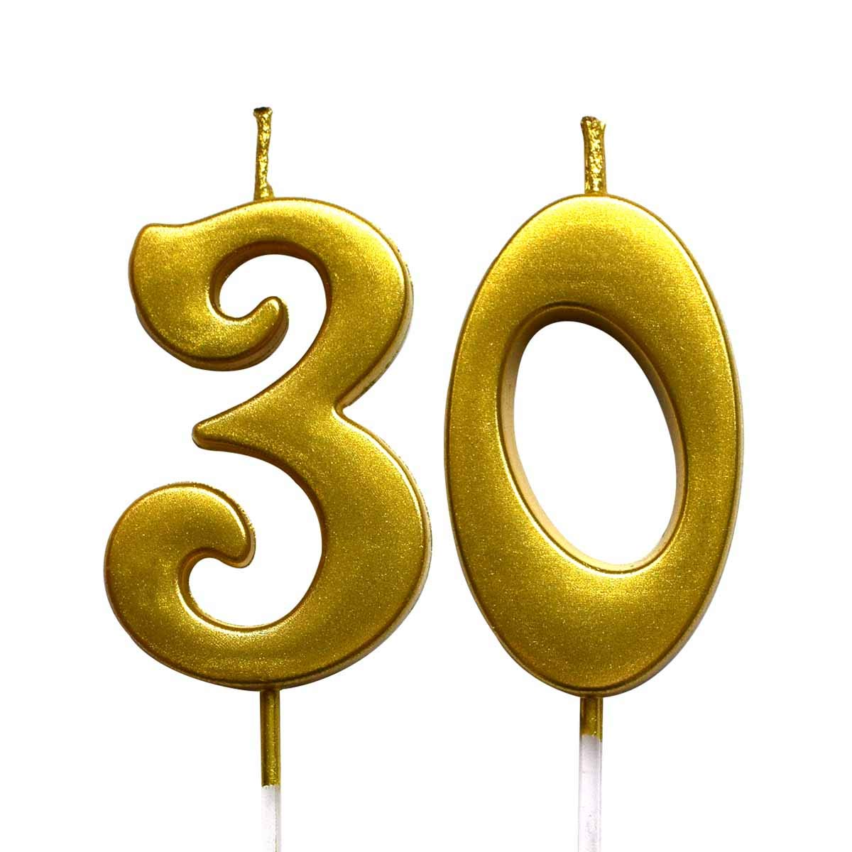 Number 30 Cake Topper Candles Party Decoration for Women or Men MAGJUCHE Gold 30th Birthday Numeral Candle
