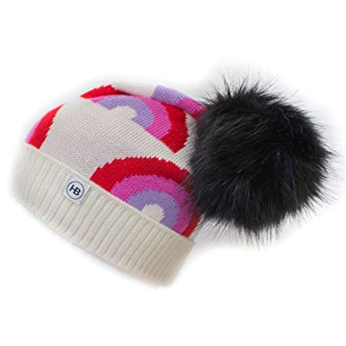 faf710a7c6102 HAT BIZARRE Men Women Merino Slouch Bobble Hat Beanie Funky Colourful  Rainbow Design - Red Pink Purple with Black Faux Fur Pom  Amazon.co.uk   Clothing