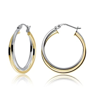 Yellow Gold Flashed Silver Two-Tone Intertwining Square Tube Hoop Earrings 25mm
