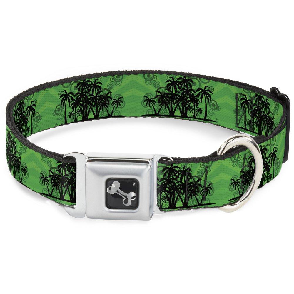 Buckle-Down Seatbelt Buckle Dog Collar Palm Trees Rings Greens Blacks 1  Wide Fits 11-17  Neck Medium