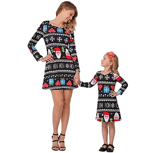 f446b565dfe2 ... Parent-Child Shirts Dress Family Clothes Mom and Me Xmas Dress Christmas  Candy Santa Dresses for Mommy and Daughter at Amazon Women's Clothing store: