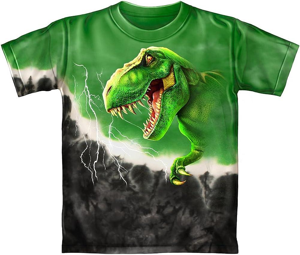 T-Rex Green Tie-Dye Youth Tee Shirt