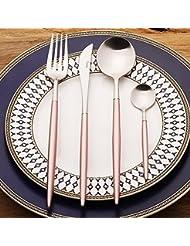 LEKOCH 4-Piece 18/10 Stainless Steel Flatware Including Fork Spoons Knife Silverware Set(Brown+Golden)