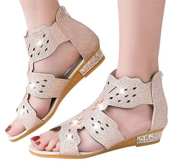 765771b37d18b Amazon.com: Gyouanime Low Heel Wedge Sandals Women Crystal Bling ...