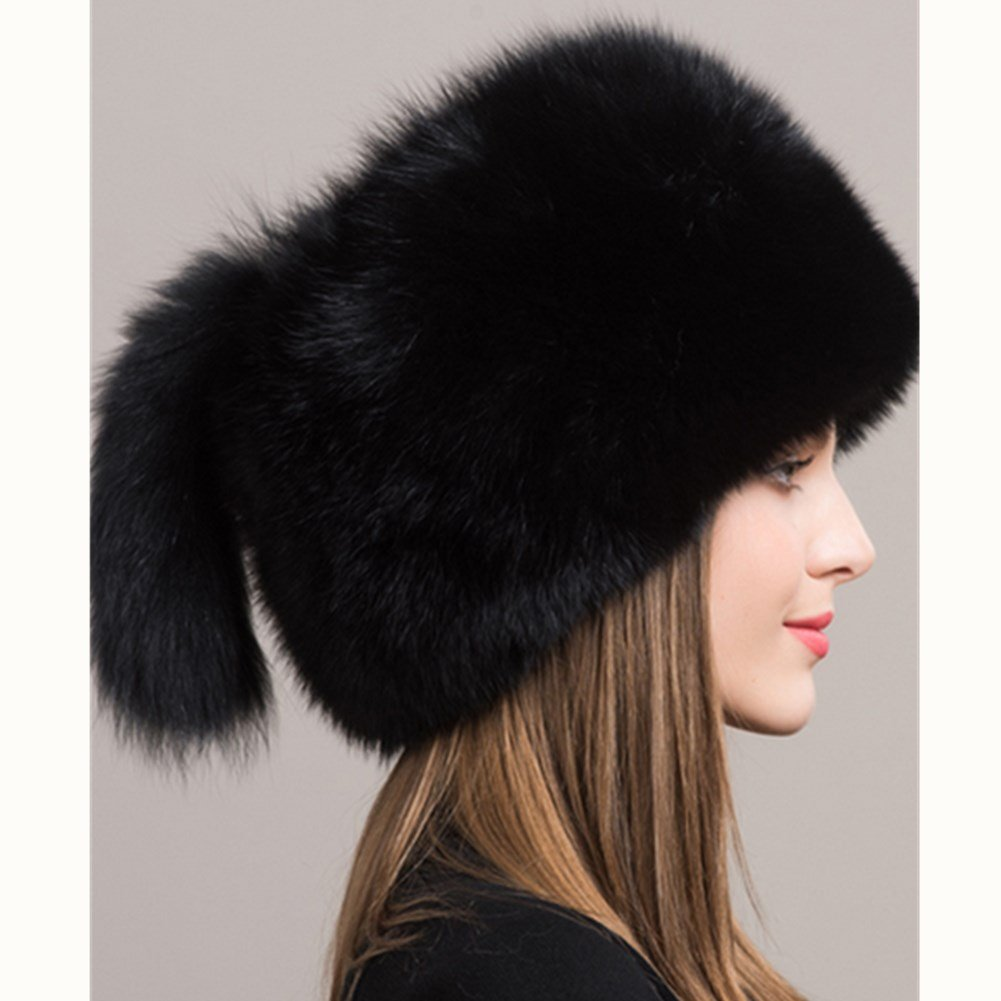 Women's Winter Mongolian Genuine Black Fox Fur Hat with Tail