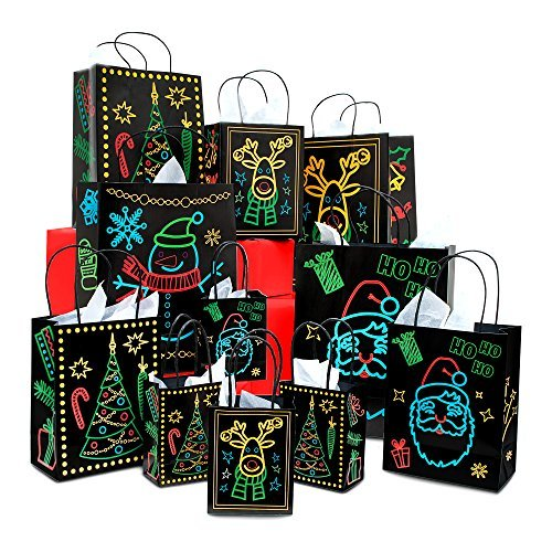 - Christmas Holiday Glow-In-The-Dark Gift Bag | 22 Piece 11 Bags Of 4 Different Designs, 3 Sizes Large medium small & 11 White Tissue Papers | Gift Set With Unique Luminous Festive Designs & Patterns