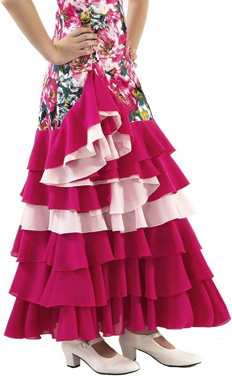 ANUKA Vestido de NIÑA para Danza Flamenco o sevillanas (Fucsia, 12 ...