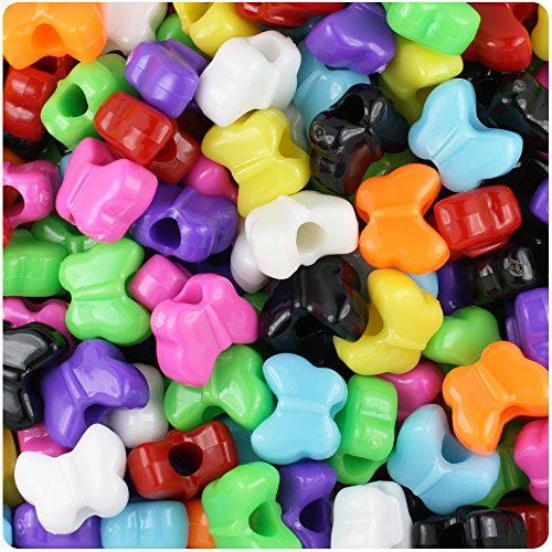 Butterfly Plastic Beads - BEADTIN Mixed Colors Opaque 13mm Butterfly Pony Beads (250pc)