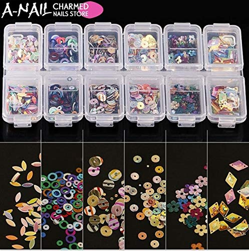 Kamas 12 Grids/set Holographic Nail Sequins For Scrapbooking Crafts&Paillette Se Ultra-thin holo Nail flakes Nail Decorations - (Color: 1set 12 -
