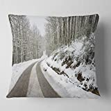 Designart CU14646-16-16 Snow Storm at Piornedo Spain' Landscape Printed Throw Cushion Pillow Cover for Living Room, Sofa, 16 in. x 16 in, Pillow Insert + Cushion Cover Printed on Both Side
