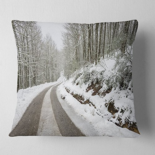 Designart CU14646-16-16 Snow Storm at Piornedo Spain' Landscape Printed Throw Cushion Pillow Cover for Living Room, Sofa, 16 in. x 16 in, Pillow Insert + Cushion Cover Printed on Both Side by Designart
