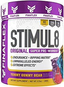 Finaflex Stimul8 Yummy Gummy Bear Super Pre Workout Powder 8.5 Ounce, 8.5 Ounce, 40 Servings